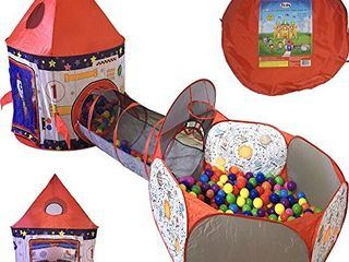 Playz 3pc Rocket Ship Astronaut Kids Play Tent  Tunnel    Ball Pit with Basketball Hoop Toys for Boys  Girls  Babies  and Toddlers   STEM Inspired Educational Galactic Spaceship Design w  Planets