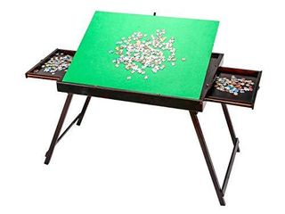 Kcelarec Wooden Jigsaw Table Puzzle Table for Adults Kids large Portable Folding Tilting Puzzle Table for Puzzle Games 1500 Pcs Puzzles