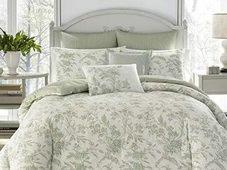 laura Ashley Home   Natalie Collection   luxury Ultra Soft Comforter  All Season Premium Bedding Set  Stylish Delicate Design for Home DAccor  Full Queen  Sage