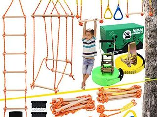 X XBEN Ninja Obstacle Course for Kids  Slackline Kit 50  with 8 Accessories   Monkey Bars  Gymnastics Rings  68  Rope ladder  Bridge Obstacle   Ninja line Training Equipment for Backyard Outdoor