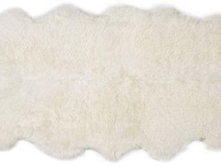 Super Area Rugs Genuine large Sheepskin Rug 4X6 Fluffy   Soft Area Rug  Natural  Quarto