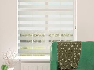 ShadesU Zebra Dual layer Roller Sheer Shades Blinds light Filtering Window Treatments Privacy light Control for Day and Night  Maxium Height 72inch   Cream Color   Width 31inch