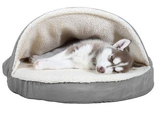 Furhaven Pet Dog Bed   Orthopedic Round Cuddle Nest Faux Sheepskin Snuggery Blanket Burrow Pet Bed with Removable Cover for Dogs and Cats  Gray  26 Inch