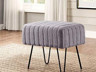 Home Soft Things Super Mink Ottoman Bench 19  x 13  x 17  Charcoal