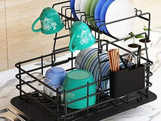 Dish Drying Rack  1Easylife 2 Tier Dish Drainer for Kitchen Rustproof Dish Rack and Drainboard Set with Removable Utensil Holder and Adjustable Swivel Spout  Countertop Dry Rack  Black