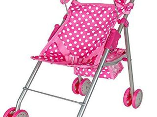 Precious Toys Pink   White Polka Dots Foldable Doll Stroller With Hood