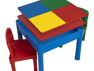 Play Platoon Kids Activity Table Set   5 in 1 Water Table  Building Block Table  Craft Table and Sensory Table with Storage   Includes 2 Chairs and 25 Ex large Blocks   Primary Colors