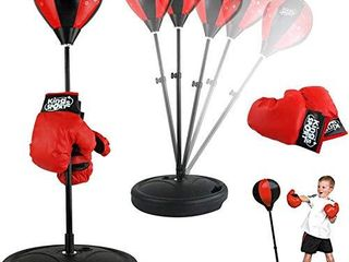 liberty Imports Sport Boxing Set Punching Bag with Gloves   Punching Ball for Kids Adjustable Height  43 Inches