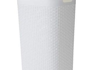 Mind Reader Basket laundry Hamper with Cutout Handles  Washing Bin  Dirty Clothes Storage  Bathroom  Bedroom  Closet  60 liter  White