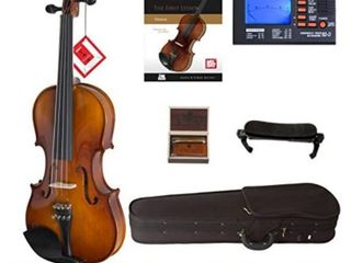 Cecilio Violin For Beginners   Beginner Violins Kit For Student w Case  Rosin  2 Bows  Tuner  First lesson Book   Starter Musical Instruments For Kids   Adults Size 4 4 Color Varnish