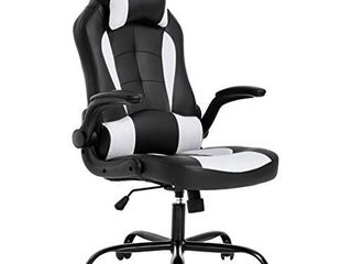 BestOffice PC Gaming Chair Ergonomic Office Chair Desk Chair with lumbar Support Flip Up Arms Headrest PU leather Executive High Back Computer Chair for Adults Women Men  Black and White