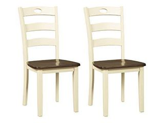 Signature Design by Ashley Woodanville Dining Room Chair  Cream Brown