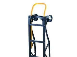 Harper Trucks 700 lb Capacity Glass Filled Nylon Convertible Hand Truck and Dolly with 10  Pneumatic Wheels   Black with yellow handle   PGDYK1635PKD
