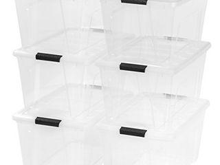 IRIS USA TB 56D Stack   Pull Storage Box  53 Qt  Clear  6 Count