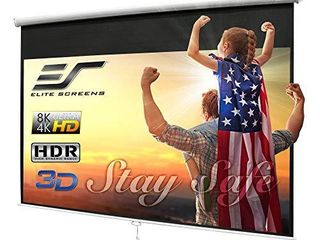 Elite Screens Manual B 100 INCH Manual Pull Down Projector Screen Diagonal 16 9 Diag 4K 8K 3D Ultra HDR HD Ready Home Theater Movie Theatre White Projection Screen with Slow Retract Mechanism M100H