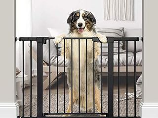 Cumbor 46  Auto Close Safety Baby Gate  Extra Tall and Wide Child Gate  Easy Walk Thru Durability Dog Gate for The House  Stairs  Doorways  Includes 4 Wall Cups  2 75 Inch and 8 25 Inch Extension
