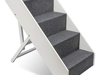 Arf Pets Wood Dog Stairs  4 levels Height Adjustment Wide Pet Steps  Foldable  White