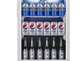 Weili Beverage Refrigerator and Cooler  20 Inches Wide Beer Soda Fridge with Stainless Steel   Glass Door for Home Office Bar  Auto Defrost  Built in Freestanding