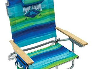 Tommy Bahama 5 Position Classic lay Flat Folding Backpack Beach Chair  Blue and Green Stripe  23  x 25 25  x 31 5