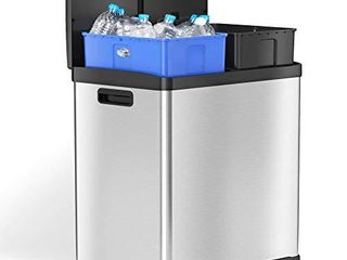 iTouchless 16 Gallon Kitchen Dual Step Trash Can   Recycle Bin  Stainless Steel  includes 2 x 8 Gallon  30l  Removable Inner Buckets  Soft Close lid and Airtight  for Home  Office  Business