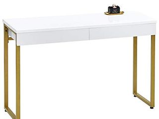 GreenForest Vanity Desk 47  Glossy White Makeup Table with 2 Drawers Modern Computer Console Table with Metal Bronze legs for living Room Entryway Hallways