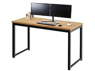 AZ l1 life Concept Modern Computer Desk 55  large writing study table for home office  light Walnut and Black frame