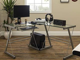 Walker Edison Ellis Modern Glass Top l Shaped Corner Gaming Desk with Computer Keyboard Tray  51 Inch  Silver
