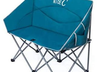 NiceC Double Camping Chair  loveseat  Oversized Folding Camp seat with Strap Carry Bag Blue