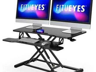 FITUEYES Height Adjustable Standing Desk 36  Wide Sit to Stand Converter Stand Up Desk Tabletop Workstation for Dual Monitor Riser