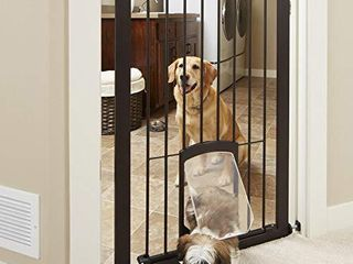 North States MyPet 38  wide Tall Petgate Passage  Extra tall secure pet gate with small lockable doggy door  Pressure Mount  Fits 29 8 38  wide  Matte Bronze