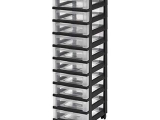 IRIS USA MC 3100 TOP 10 Drawer Storage Cart with Organizer Top  Black Clear