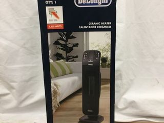 Delonghi 1500 Watt Ceramic Tower Electric Space Heater with Thermostat and Remote  Energy Saving Setting