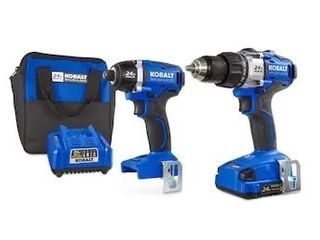 Kobalt 2 Tool 24 Volt Max Brushless Power Tool Combo Kit with Soft Case  Charger Included and 1 Battery Included