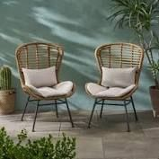 la Habra Boho Wicker Patio Chat chairs set of 2 light brown and beige by Christopher Knight Home