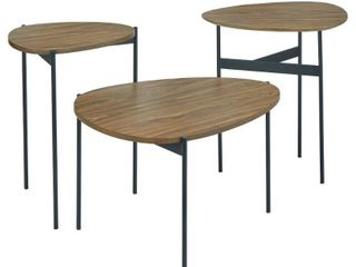 3pc Accent Table Set Walnut   lifestorey
