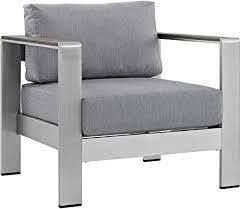 Pismo outdoor aluminum chair silver frame with grey cushion 1only
