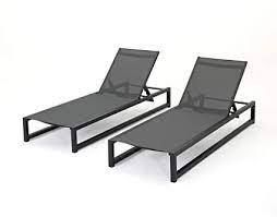 lounge chair black finish and grey outdoor mesh set of 2