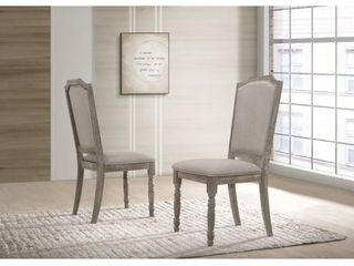 Roundhill Ferran Wood Pedestal Dining Chair in Reclaimed Gray  Set of 2