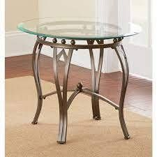 Steve silver co Copper Grove Woodend Glass top Round End Table  Retail 108 77 brown