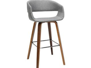 Set of 2 26  low Back Bentwood Frame Counter Height Barstools with Fabric Upholstery light Gray   OFM