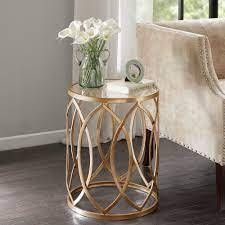 Silver Orchid Grant Gold  Glass Metal Eyelet Accent Table  Retail 89 49