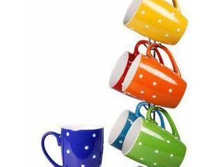 Home Basics 6 Piece Mug Stand with Polka Dot Print Mug