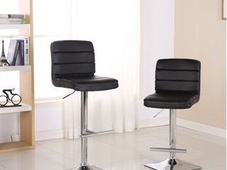 Roundhill Bradford Black Faux leather Swivel Height Adjustable Bar Stools with Square Chrome Base  Set of 2