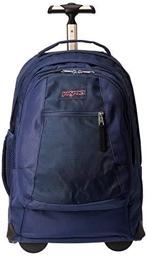 Jansport Driver 8 Rolling Backpack   Wheeled Travel Bag with 15 Inch laptop Sleeve  Navy  One Strap Torn  Fixable