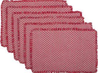 Deep Red Seasonal Decor Tannen Cotton Diamond Rectangle Placemat Set of 6