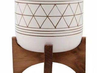 5  White Gold Ceramic Geometric Wood Planter  Very Pretty
