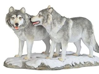 11 5 Inch Grey White Wolves Walking Figurines