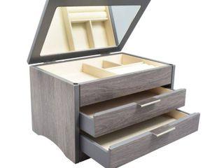 Distressed Grey Wood Jewelry Box