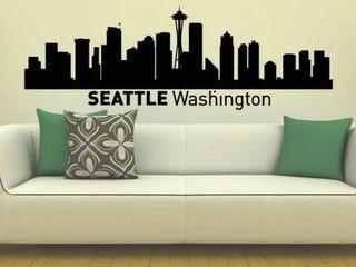 Seattle Washington Skyline City Silhouette Vinyl Wall Art Sticker
