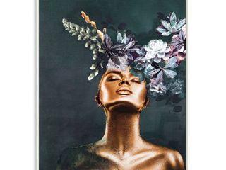 Stupell Industries Glamour Bronze Female Portrait Succulent Plants Wood Wall Art